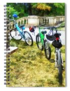 Line Of Bicycles In Park Spiral Notebook