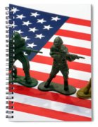 Line Of Toy Soldiers On American Flag Crisp Depth Of Field Spiral Notebook