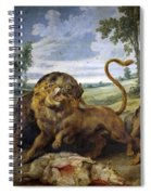 Lion And Three Wolves Spiral Notebook