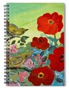 Little Birds And Poppies Spiral Notebook