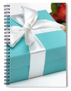 Little Blue Gift Box And Flowers Spiral Notebook