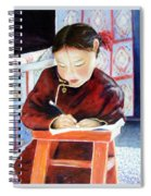 Little Girl From Mongolia Doing Her Homework Spiral Notebook