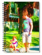 Little Girls First Bike Lesson With Dad Beautiful Tree Lined Street Summer Scene Carole Spandau  Spiral Notebook