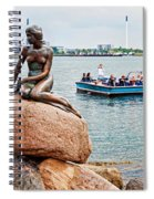 Little Mermaid Statue With Tourboat Spiral Notebook