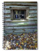 Log Cabin Window And Fall Leaves Spiral Notebook