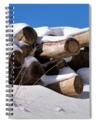 Log Pile In A Snow Drift In Winter Spiral Notebook