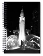 Logan Square Fountain At Night In Black And White Spiral Notebook