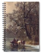 Loggers On A Frozen Waterway Spiral Notebook