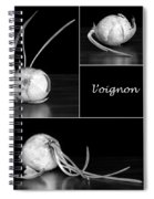 Onion Kitchen Art - L'oignon - Black And White Spiral Notebook