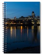 London Skyline Reflecting In The Thames River At Night Spiral Notebook