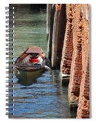 Lonely Boat In Venice Spiral Notebook