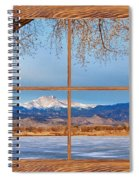 Longs Peak Across The Lake Barn Wood Picture Window Frame View Spiral Notebook