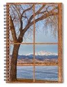 Longs Peak Winter Lake Barn Wood Picture Window View Spiral Notebook