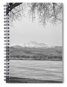 Longs Peak Winter View In Black And White Spiral Notebook