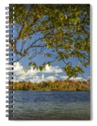 Loon Lake In Autumn With White Birch Tree Spiral Notebook