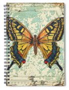 Lovely Yellow Butterfly On Tin Tile Spiral Notebook