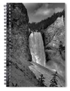 Lower Falls In Yellowstone In Black And White Spiral Notebook