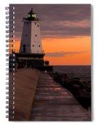 Ludington Pier And Lighthouse Spiral Notebook