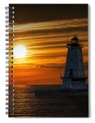 Ludington Pier Lighthead At Sunset Spiral Notebook
