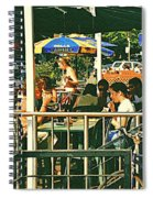 Lunch Party At The La Belle Gueule Brasserie Terrace - Park Your Bike And Enjoy The Sunny Day Spiral Notebook