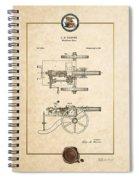 Machine Gun - Automatic Cannon By C.e. Barnes - Vintage Patent Document Spiral Notebook