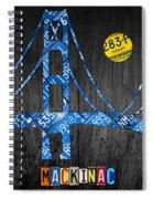 Mackinac Bridge Michigan License Plate Art Spiral Notebook