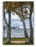 Mackinaw Bridge In Autumn By The Straits Of Mackinac Spiral Notebook