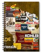 Made In Wisconsin Products Vintage Map On Wood Spiral Notebook