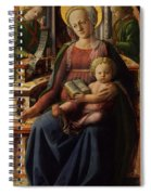 Madonna And Child Enthroned With Two Angels Spiral Notebook