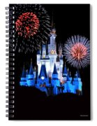 Magic Kingdom Castle In Blue With Fireworks Spiral Notebook