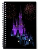 Magic Kingdom Castle In Purple With Fireworks 01 Spiral Notebook