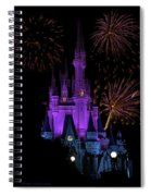 Magic Kingdom Castle In Purple With Fireworks 02 Spiral Notebook