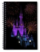 Magic Kingdom Castle In Purple With Fireworks 03 Spiral Notebook