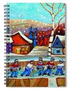Magical Pond Hockey Memories Hockey Art Snow Falling Winter Fun Country Hockey Scenes  Spandau Art Spiral Notebook
