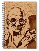 Mahatma Gandhi Coffee Painting Spiral Notebook