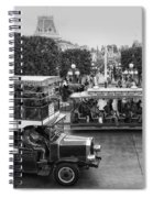 Main Street Transportation Disneyland Bw Spiral Notebook