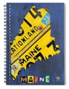 Maine License Plate Map Vintage Vacationland Motto Spiral Notebook