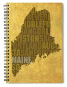 Maine Word Art State Map On Canvas Spiral Notebook