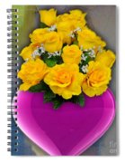 Majenta Heart Vase With Yellow Roses Spiral Notebook