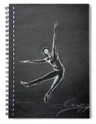 Male Dancer In White Lines On Black Spiral Notebook