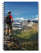 Male Hiker Standing On Top Of Mountain Spiral Notebook