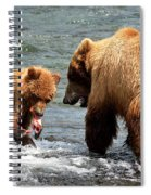 Mama And Baby Grizzly Bear At The Falls Spiral Notebook
