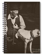 Man And White Dog In New Orleans Spiral Notebook