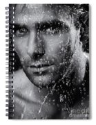 Man Face Wet From Water Running Down It Black And White Spiral Notebook