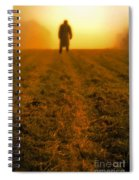 Man In Field At Sunset Spiral Notebook