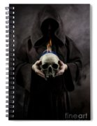 Man In The Hooded Cloak Holding Burning Human Skull In His Hand Spiral Notebook