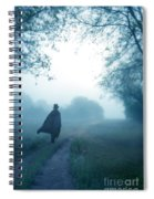Man In Top Hat And Cape On Foggy Dirt Road Spiral Notebook