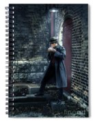 Man In Trenchcoat Lighting A Cigarette Spiral Notebook