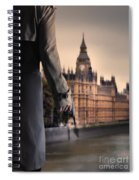 Man In Trenchcoat With A Gun In London Spiral Notebook