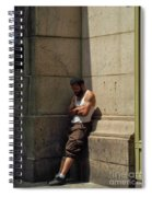 Man Leaning Against Wall In Sun Spiral Notebook